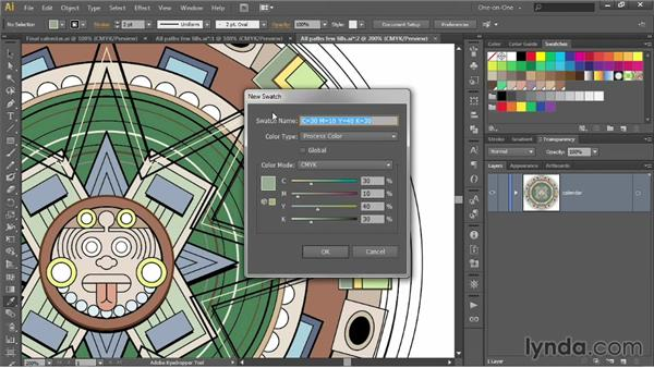 Lifting a color and creating a swatch: Illustrator CC 2013 One-on-One: Intermediate