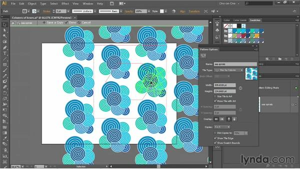 The Size Tile to Art and Overlap options: Illustrator CC 2013 One-on-One: Intermediate