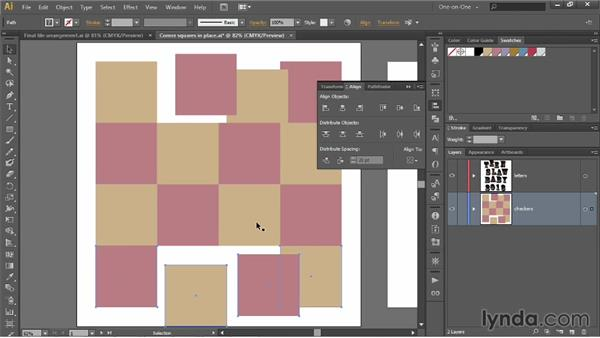 """Aligning to a fixed """"key"""" object: Illustrator CC 2013 One-on-One: Intermediate"""
