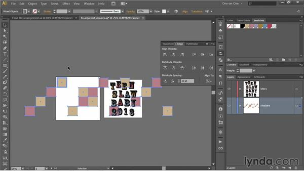 Distributing by a specified amount of space: Illustrator CC 2013 One-on-One: Intermediate