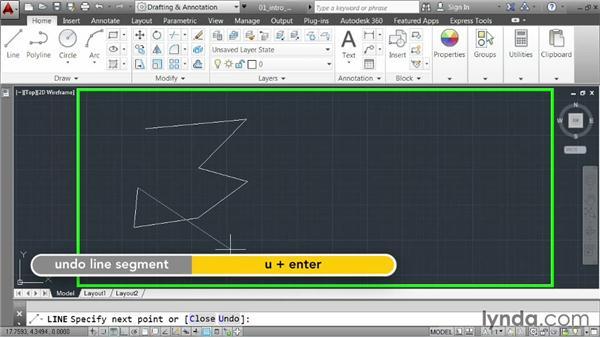 Constructing lines: AutoCAD 2014 Essentials: 02 Drawing Fundamentals