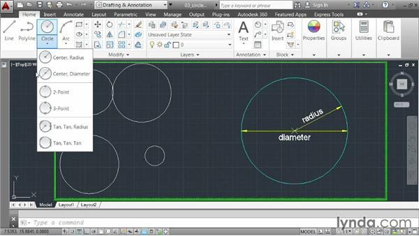 Drawing circles: AutoCAD 2014 Essentials: 02 Drawing Fundamentals