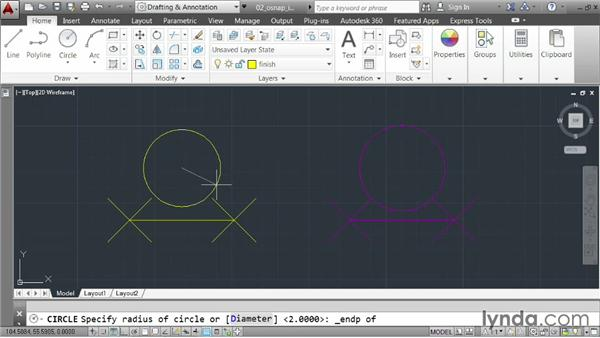 Locking to geometry using object snaps: AutoCAD 2014 Essentials: 02 Drawing Fundamentals