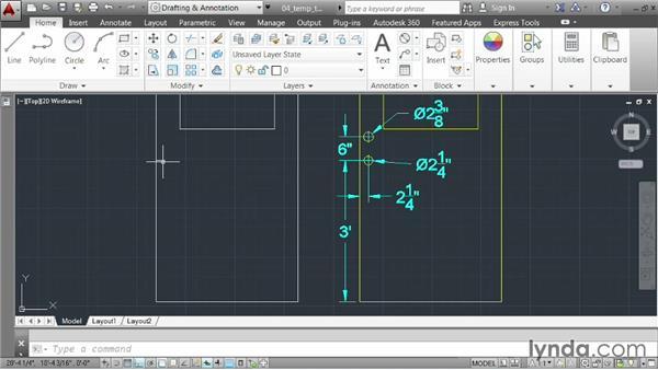 Using temporary tracking: AutoCAD 2014 Essentials: 02 Drawing Fundamentals