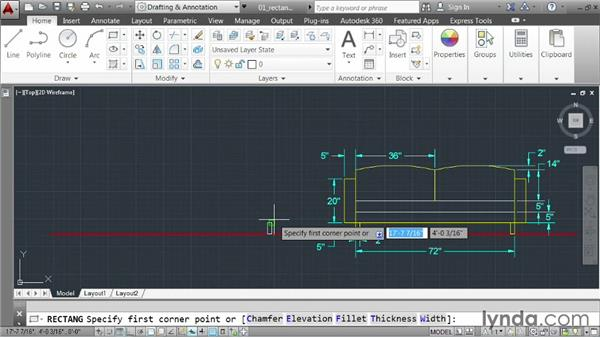 Drawing rectangles: AutoCAD 2014 Essentials: 02 Drawing Fundamentals