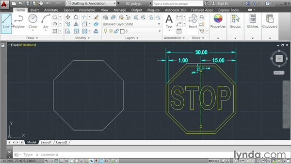 Drawing polygons: AutoCAD 2014 Essentials: 02 Drawing Fundamentals