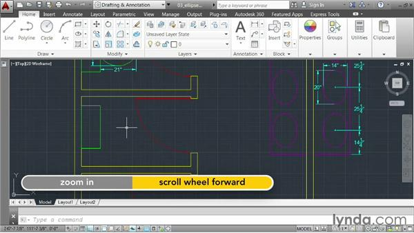 Creating an ellipse: AutoCAD 2014 Essentials: 02 Drawing Fundamentals