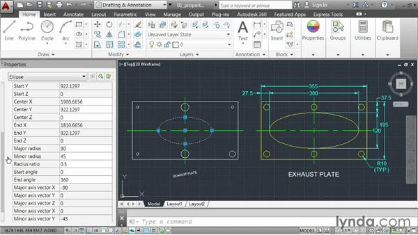 Revising geometry using the Properties palette: AutoCAD 2014 Essentials: 02 Drawing Fundamentals