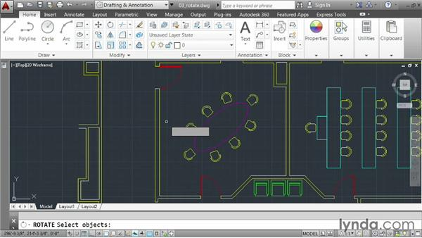 Rotating elements: AutoCAD 2014 Essentials: 02 Drawing Fundamentals
