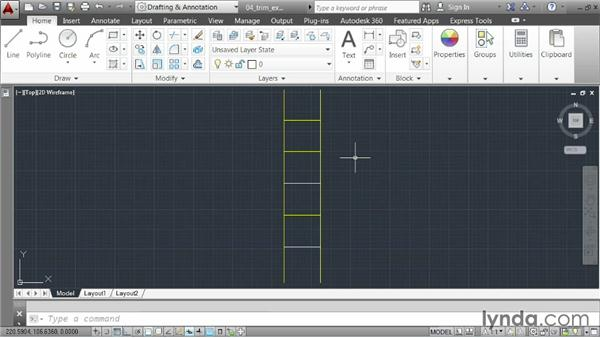 Trimming and extending geometry: AutoCAD 2014 Essentials: 02 Drawing Fundamentals