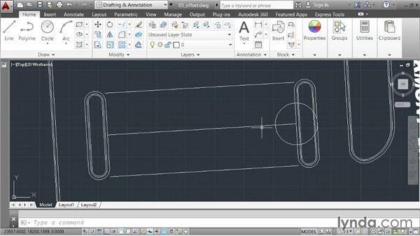 Creating offsets: AutoCAD 2014 Essentials: 02 Drawing Fundamentals