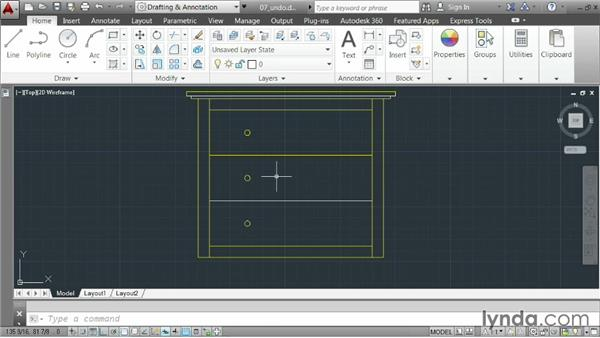 Undoing and redoing actions: AutoCAD 2014 Essentials: 02 Drawing Fundamentals
