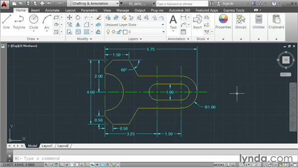 Intro to creating a small part: AutoCAD 2014 Essentials: 02 Drawing Fundamentals