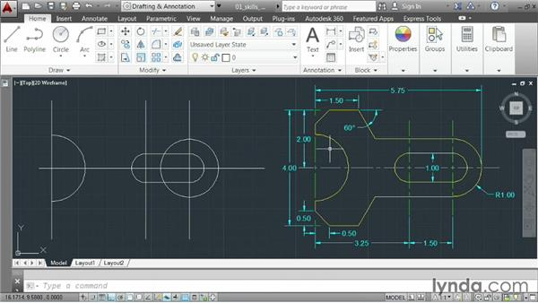 Demonstrating creating a small part: AutoCAD 2014 Essentials: 02 Drawing Fundamentals