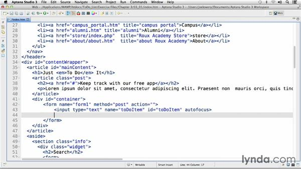 Setting up the HTML: HTML5 Projects: Advanced To-Do List