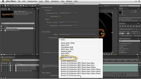 Exploring the linear workspace: After Effects Guru: Working with 3D in C4D Lite