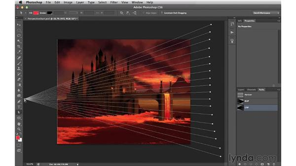 Setting up vanishing points using the Path tool: Digital Matte Painting Essentials 2: Perspective