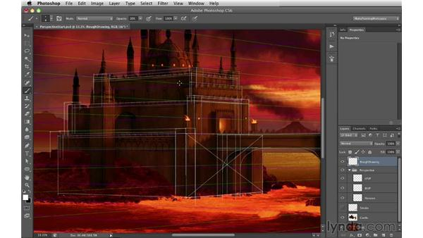 Roughing in the other rectilinear forms: Digital Matte Painting Essentials 2: Perspective
