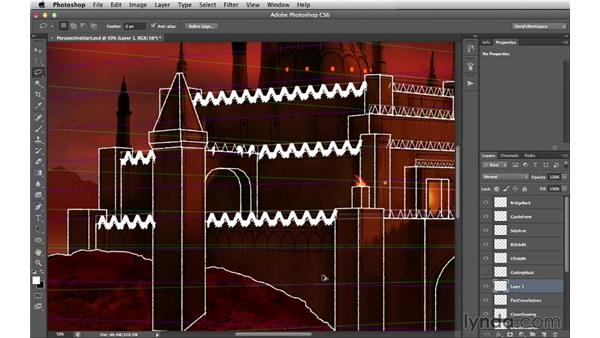 Adding back sides to crenellations: Digital Matte Painting Essentials 2: Perspective