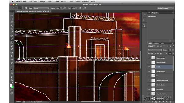 Adding structural lines to the walls and bastions: Digital Matte Painting Essentials 2: Perspective