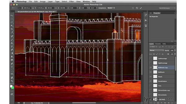 Adding repeating details to the walls: Digital Matte Painting Essentials 2: Perspective