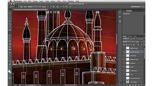 Adding details to the domes and towers: Digital Matte Painting Essentials 2: Perspective