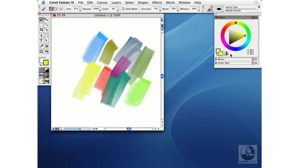 choosing colors from the color palette: Getting Started with Corel Painter IX
