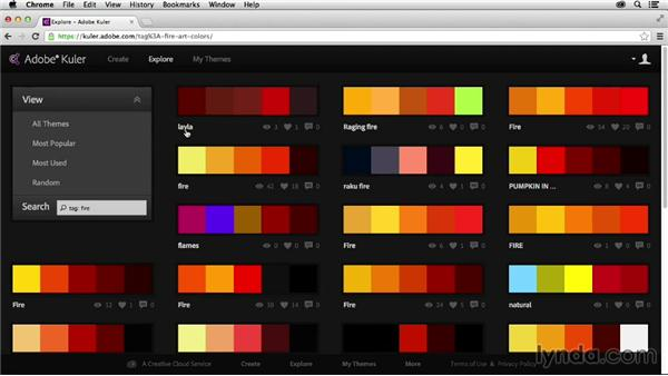 Searching for color themes: Adobe Color CC Essential Training