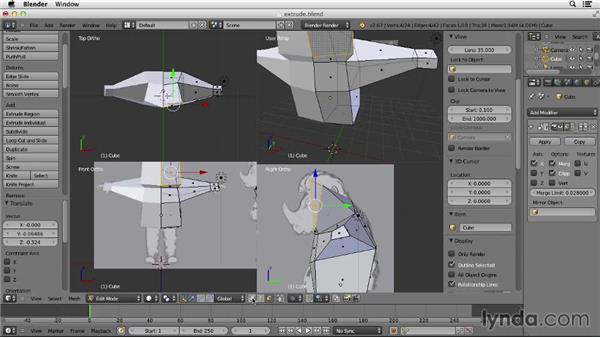 Extruding polygons: Character Modeling in Blender