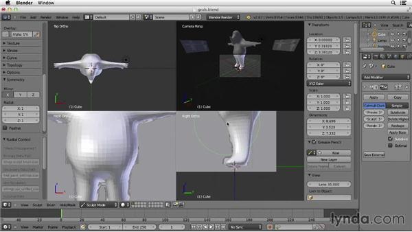 Using the Grab brush: Character Modeling in Blender