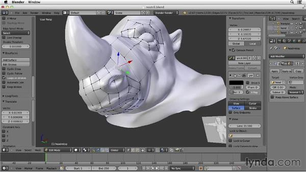 Retopologizing the nostril: Character Modeling in Blender