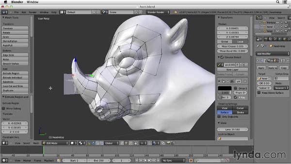 Retopologizing the horn: Character Modeling in Blender