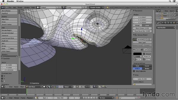 Modeling the facial cavities: Character Modeling in Blender