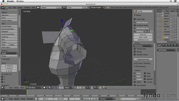 Making the jacket lapels: Character Modeling in Blender