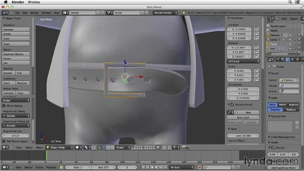 Making the belt buckle: Character Modeling in Blender