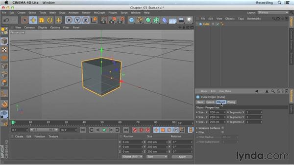 Editing primitive objects: CINEMA 4D Lite for After Effects: Getting Started