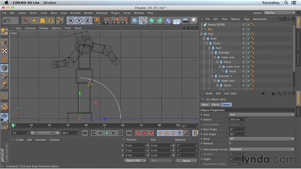 Spline modeling with Sweep NURBS: CINEMA 4D Lite for After Effects: Getting Started