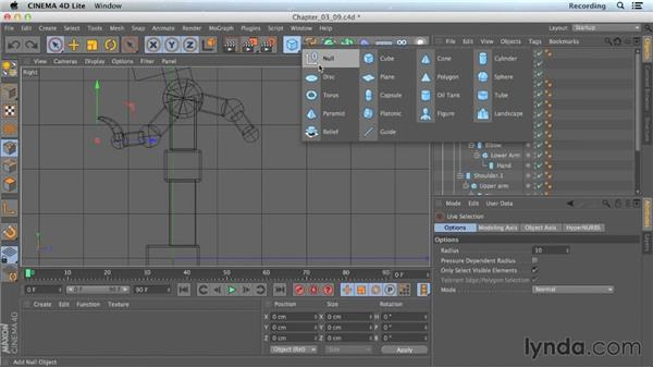 Using nulls as controllers: CINEMA 4D Lite for After Effects: Getting Started