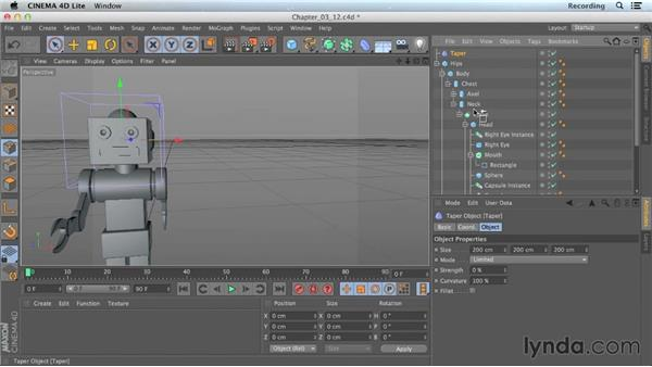 Reshaping objects with deformers: CINEMA 4D Lite for After Effects: Getting Started