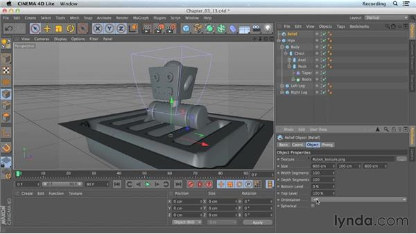 Adding surface detail with a Relief object: CINEMA 4D Lite for After Effects: Getting Started