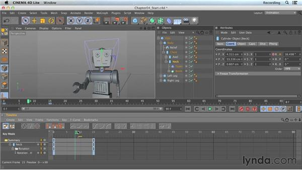 Basic keyframing of properties: CINEMA 4D Lite for After Effects: Getting Started