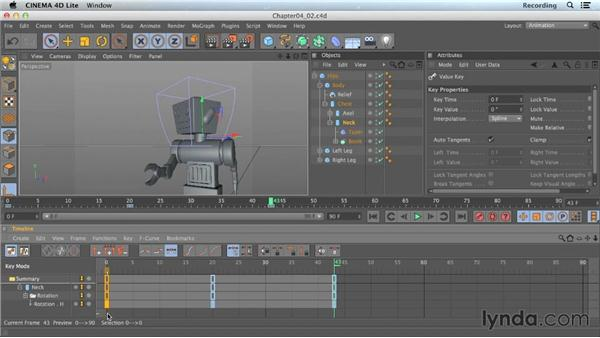 Copying keyframes: CINEMA 4D Lite for After Effects: Getting Started