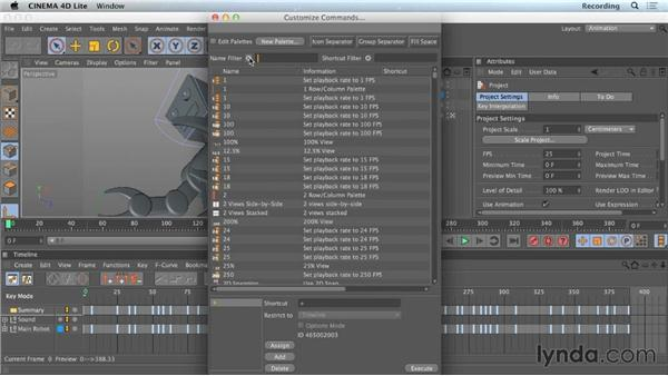 Customizing commands and shortcuts: CINEMA 4D Lite for After Effects: Getting Started