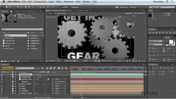 Applying material presets to text: CINEMA 4D Lite for After Effects: Getting Started