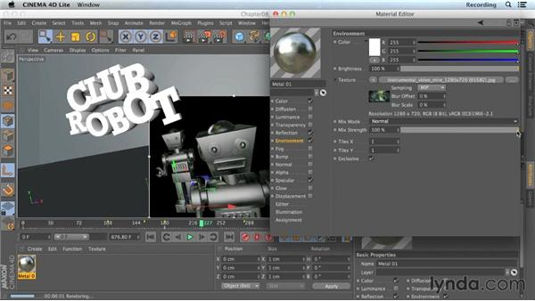 Adding an environment channel: CINEMA 4D Lite for After Effects: Getting Started