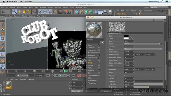 Adding texture with shaders: CINEMA 4D Lite for After Effects: Getting Started