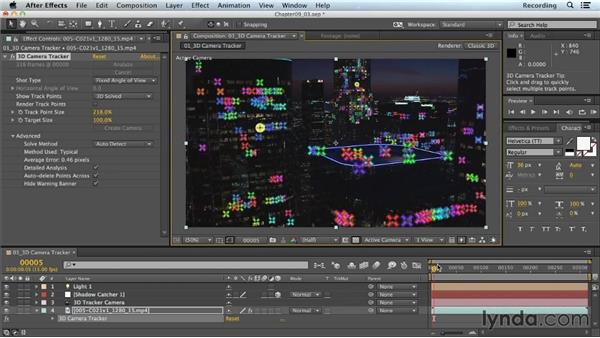 Creating nulls from tracking points: CINEMA 4D Lite for After Effects: Getting Started
