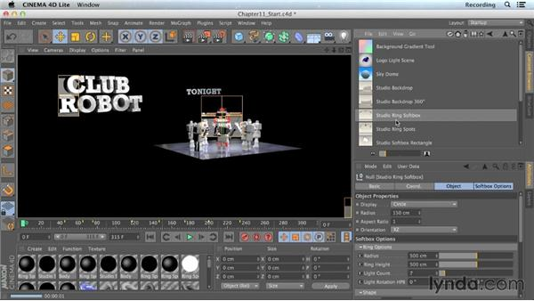 Using preset lighting setups: CINEMA 4D Lite for After Effects: Getting Started