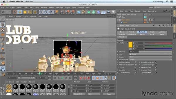 Creating visible lights: CINEMA 4D Lite for After Effects: Getting Started