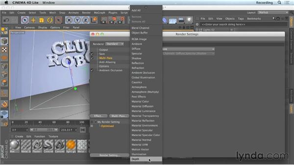 Adding passes to render settings: CINEMA 4D Lite for After Effects: Getting Started